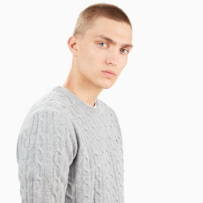 Merino+Cable+Sweater+voor+Heren+in+Grijs