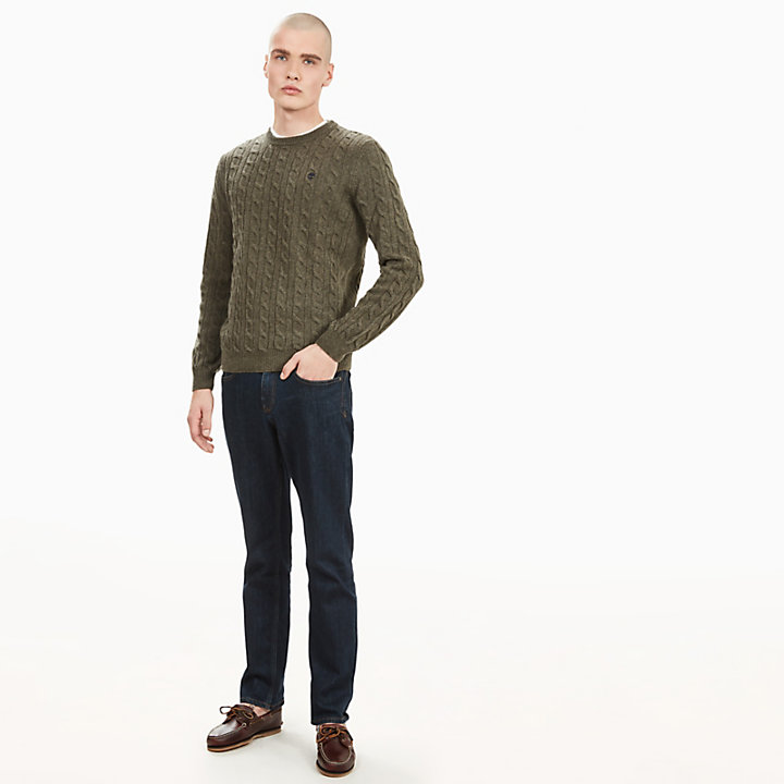 Merino Cable Sweater for Men in Green-