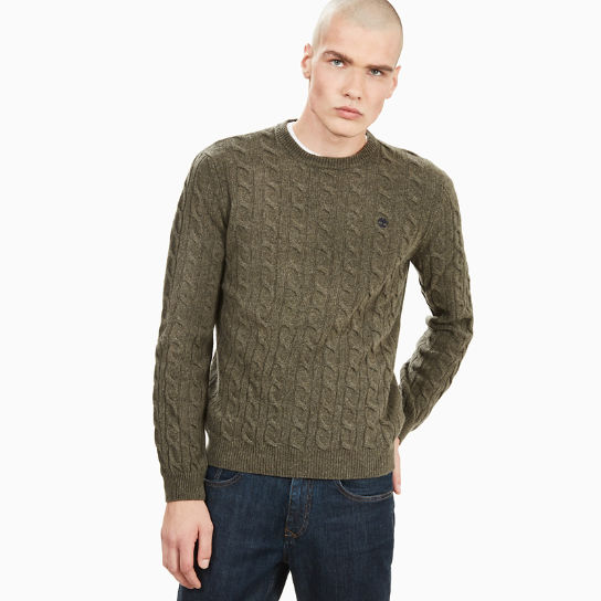 Merino Cable Sweater for Men in Green | Timberland