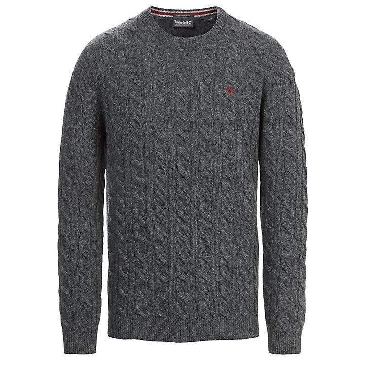 Merino Cable Sweater for Men in Dark Grey-