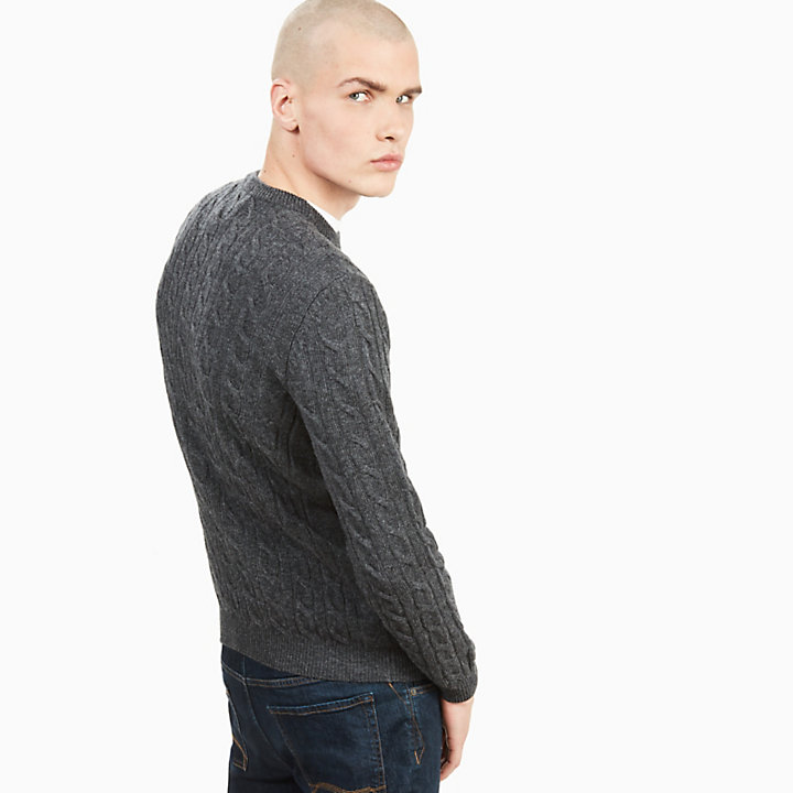 Merino Cable Sweater for Men in Dark Grey-