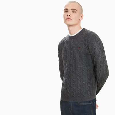 Merino+Cable+Sweater+voor+Heren+in+Donkergrijs