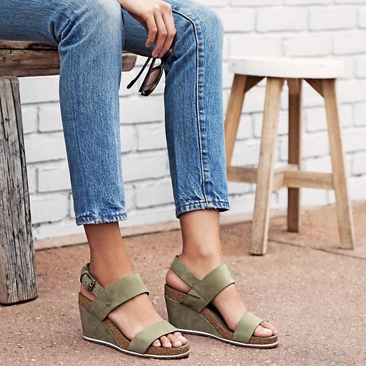 Sandale compensées Capri Sunset pour femme en vert-