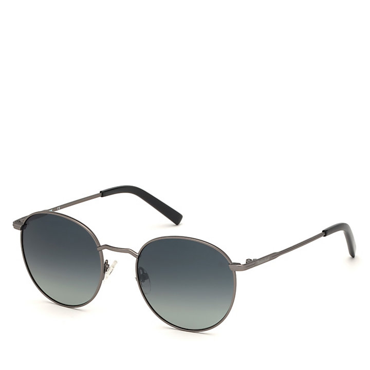 Round Sunglasses for Men in Grey-