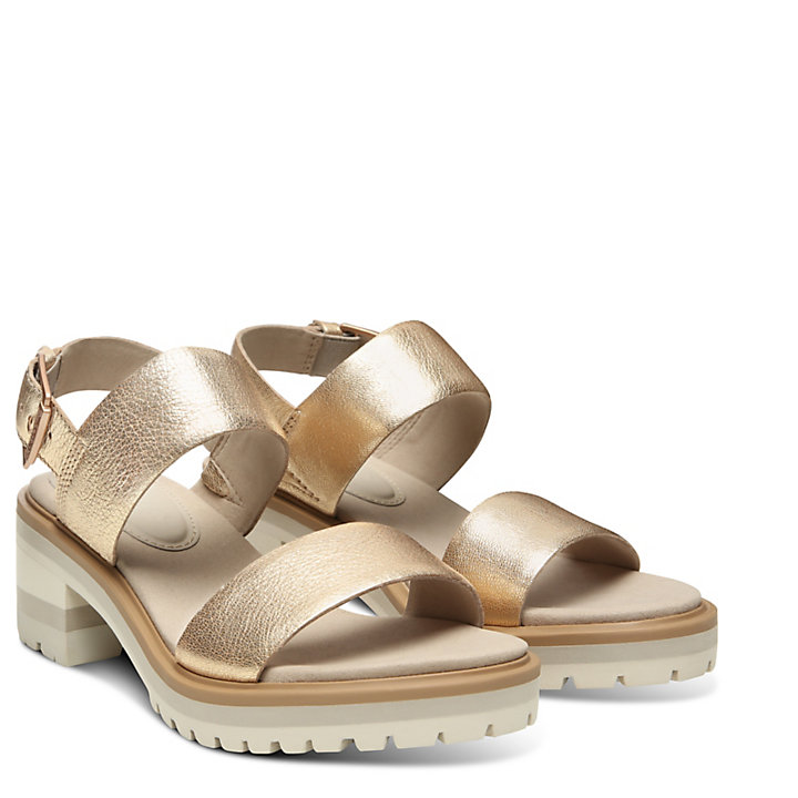 Violet Marsh Strap Sandal for Women in Gold-