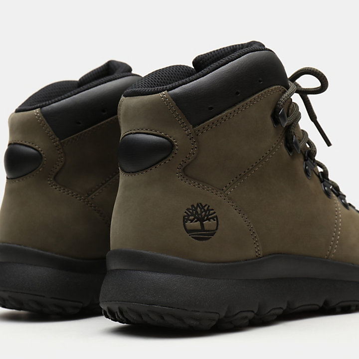 World Hiker Leather Hiking Boot voor Heren in donkergroen nubuck-
