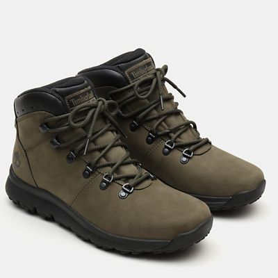 World+Hiker+Leather+Hiking+Boots+f%C3%BCr+Herren+in+Dunkelgr%C3%BCn+Nubuk