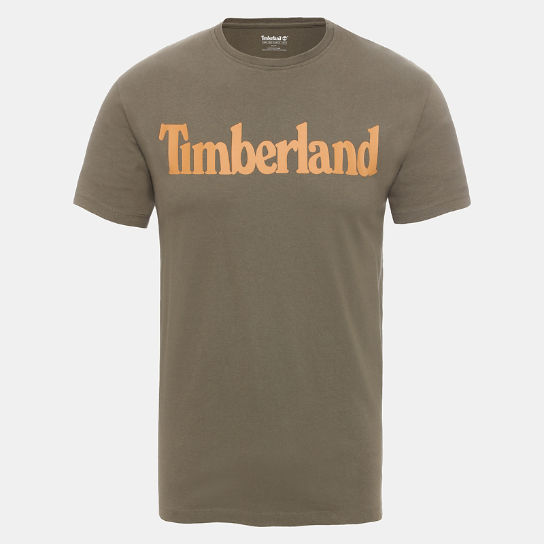 Linear Logo T-Shirt for Men in Green | Timberland