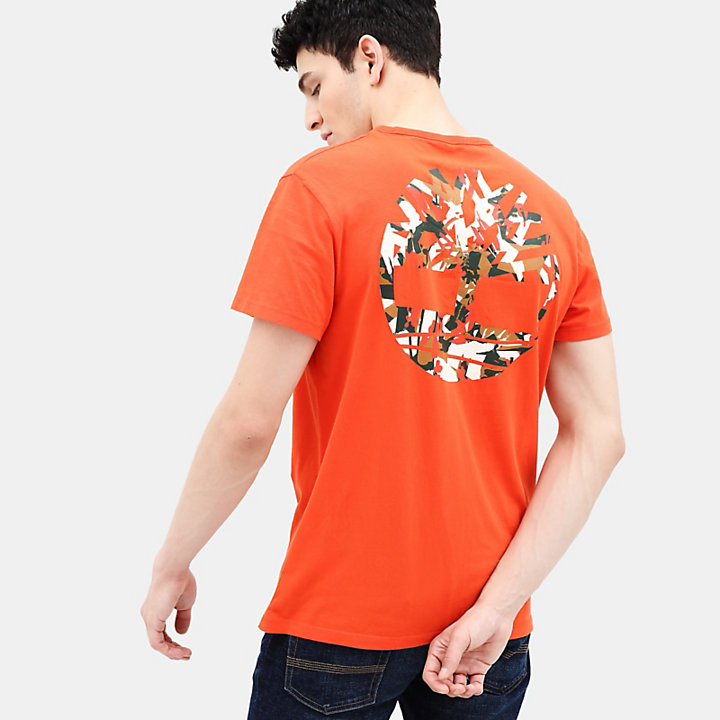 Camo Logo T-Shirt for Men in Orange-