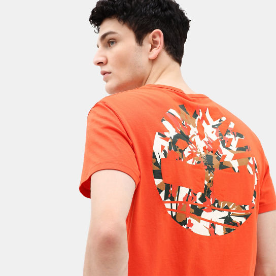 Camo Logo T-Shirt for Men in Orange | Timberland