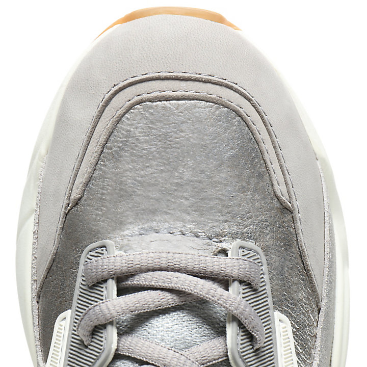 Delphiville Leather Sneaker for Women in Silver-
