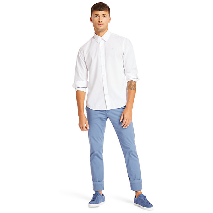 Eastham River Cotton Stretch Shirt for Men in White-
