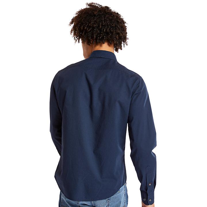 Camicia Elasticizzata da Uomo in Cotone Eastham River in blu marino-