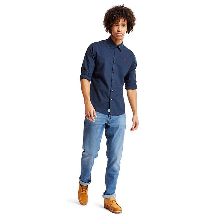 Chemise en coton Eastham River homme en bleu marine-