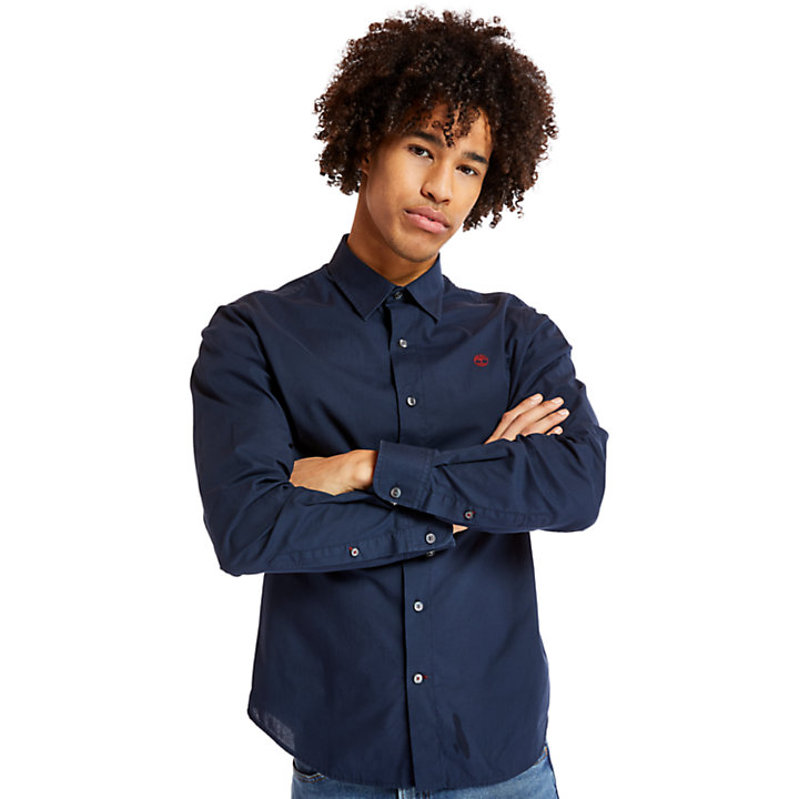 Eastham River Cotton Stretch Shirt for Men in Navy-