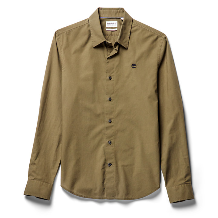 Eastham River Cotton Stretch Shirt for Men in Green-