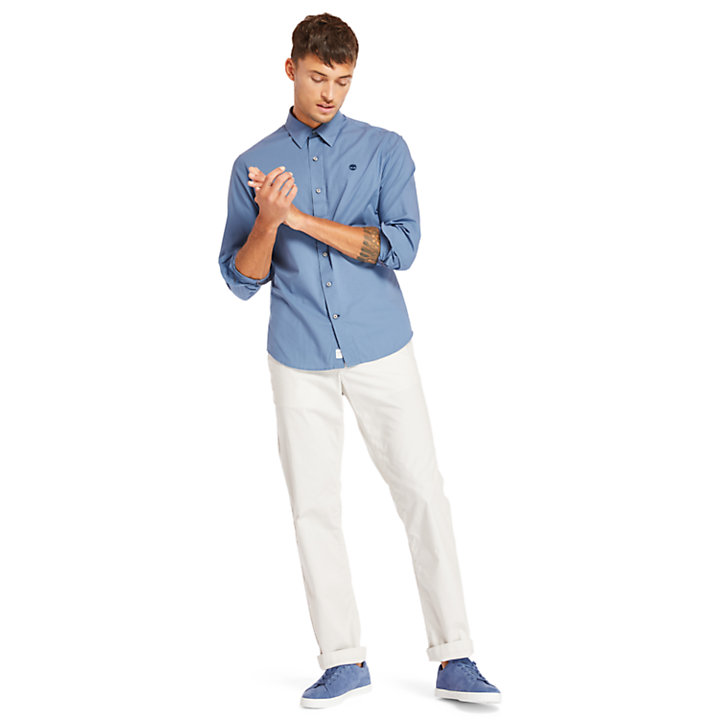 Camisa Elástica de Algodón Eastham River para Hombre en azul-
