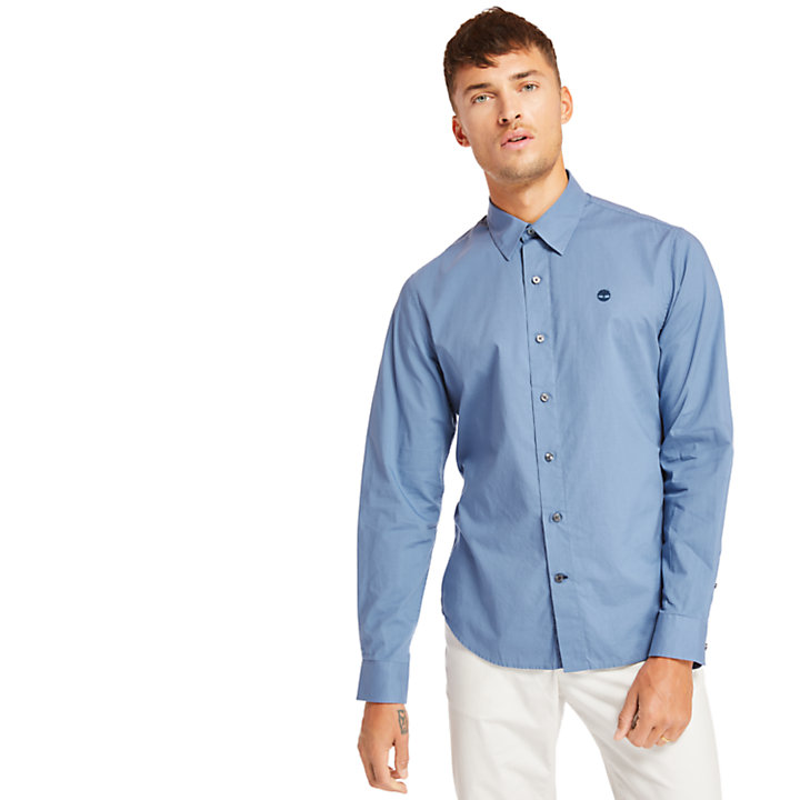 Eastham River Cotton Stretch Shirt for Men in Blue-