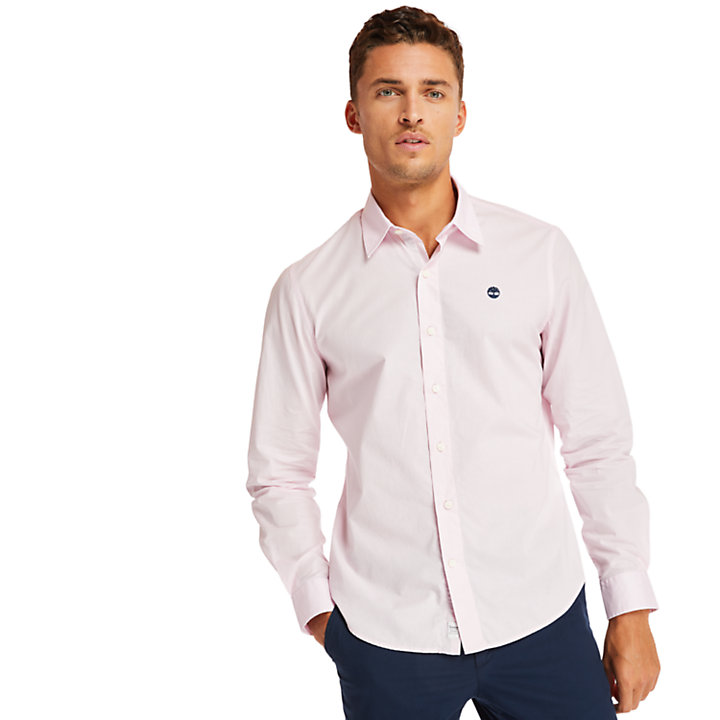 Eastham River Cotton Stretch Shirt for Men in Lilac-