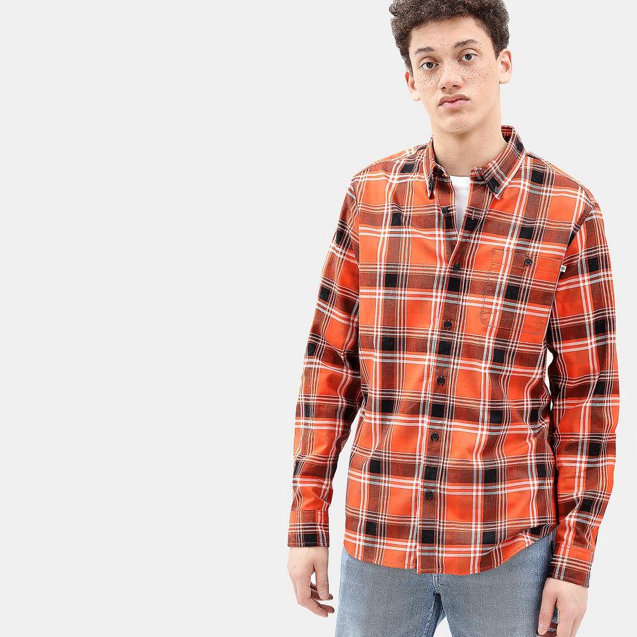 Timberland Back River Tartan Shirt For Men In Orange Orange, Size M