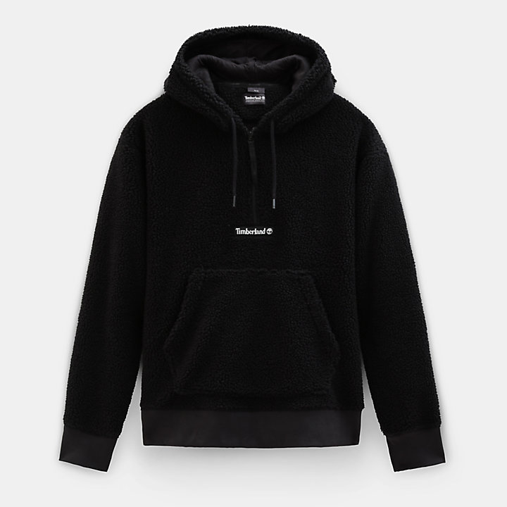 Sherpa Fleece Hoodie for Men in Black-
