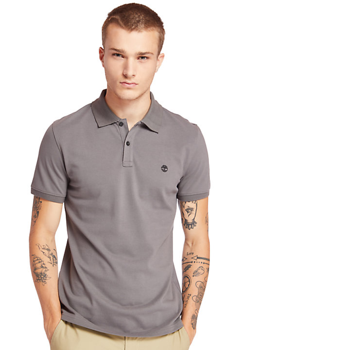 Millers River Jacquard Polo Shirt for Men in Grey-