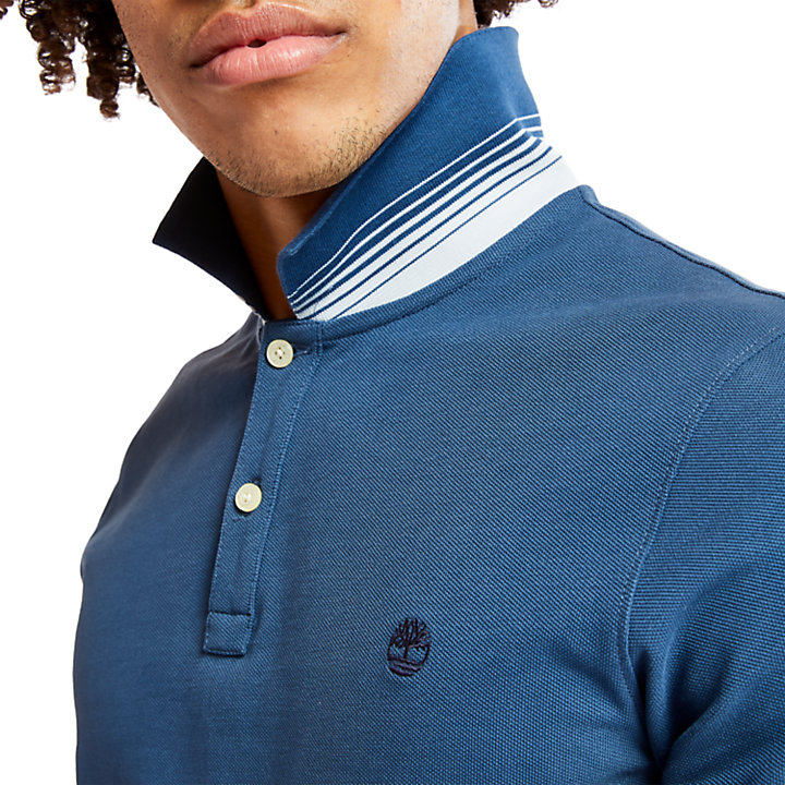 Polo da Uomo Millers River Jacquard in blu scuro-
