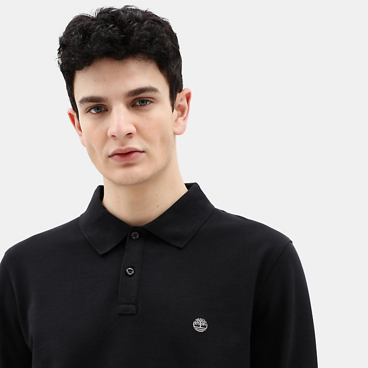 Millers River LS Polo Shirt for Men in Black-