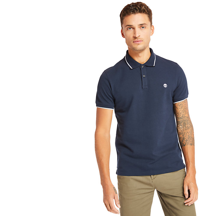 Millers River Tipped Polo Shirt for Men in Navy-