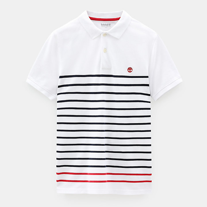 Millers River Stripe Polo Shirt for Men in White-