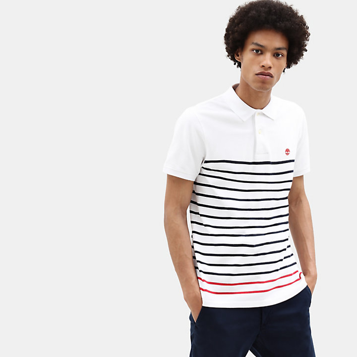 Millers River Stripe Polo voor Heren in wit-
