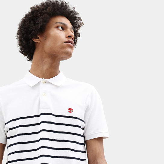 Millers River Stripe Polo Shirt for Men in White | Timberland