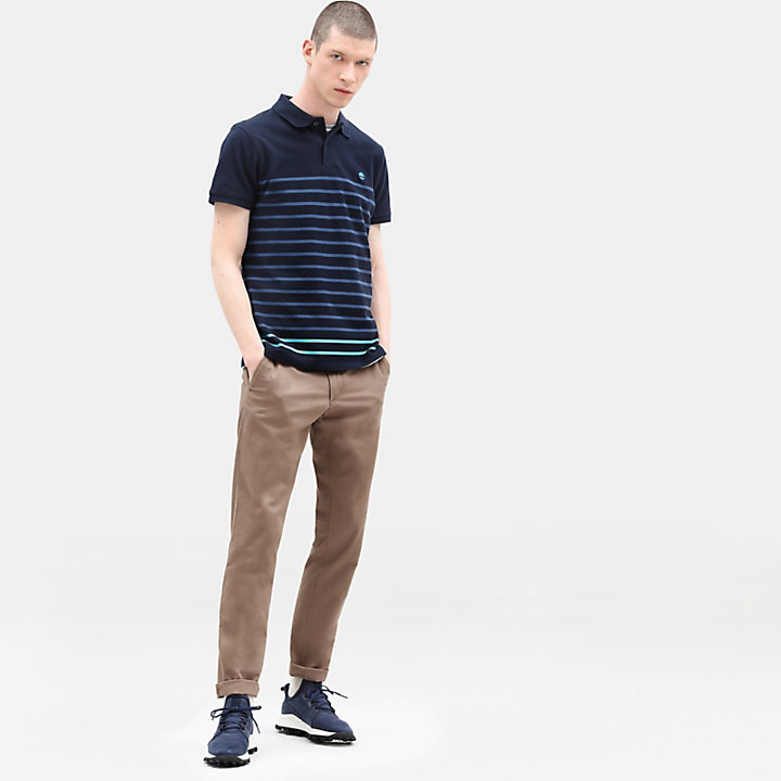 Millers River Stripe Polo voor Heren in marineblauw-
