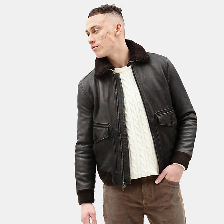 Shearling Leather Jacket for Men in Brown-