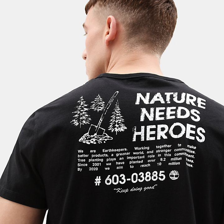 Nature Needs Heroes™ T-shirt for Men in Black-