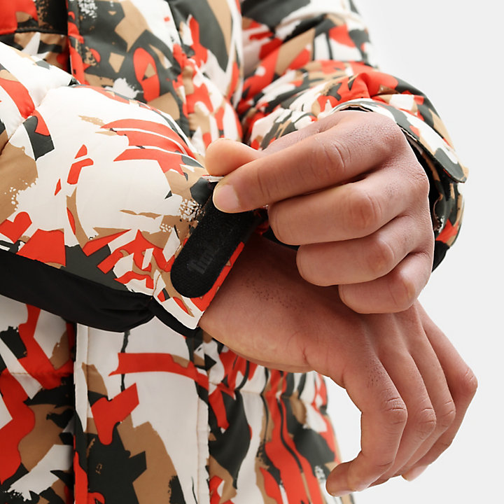 Camo Pufferjacke für Herren in Orange-