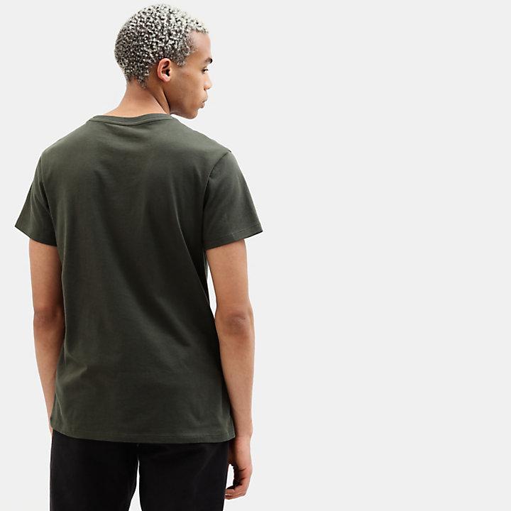 Camiseta de Algodón Orgánico para Hombre en verde oscuro-