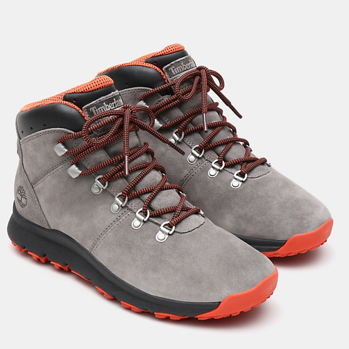 World Hiker Leather Hiking Boot for Men in Grey Suede-