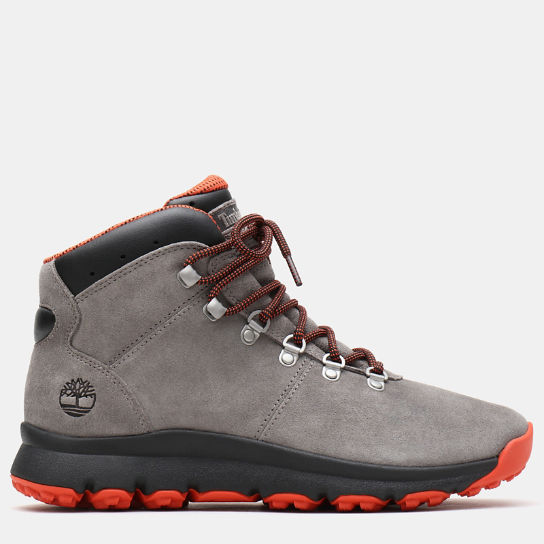 World Hiker Leather Hiking Boot for Men in Grey Suede | Timberland