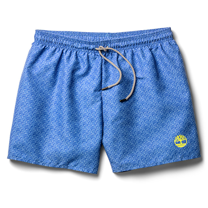 Sunapee Lake Print Swim Shorts for Men in Blue-