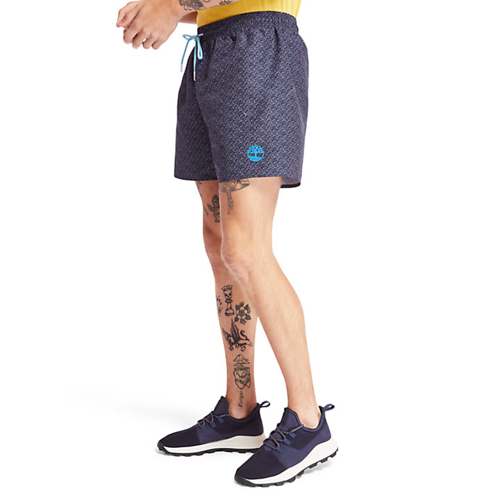 Sunapee Lake Print Swim Shorts for Men in Navy-