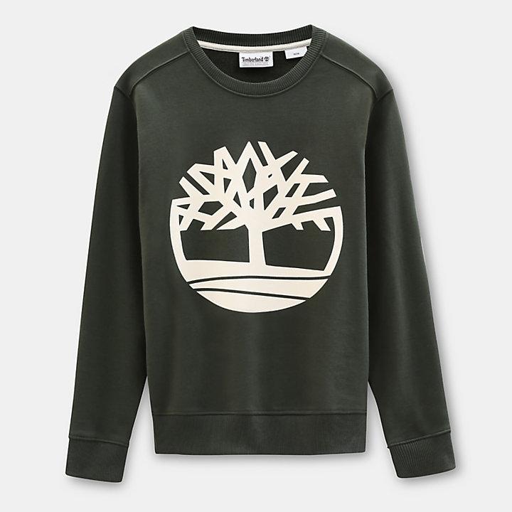 Sweat-shirt arbre pour homme en vert foncé-