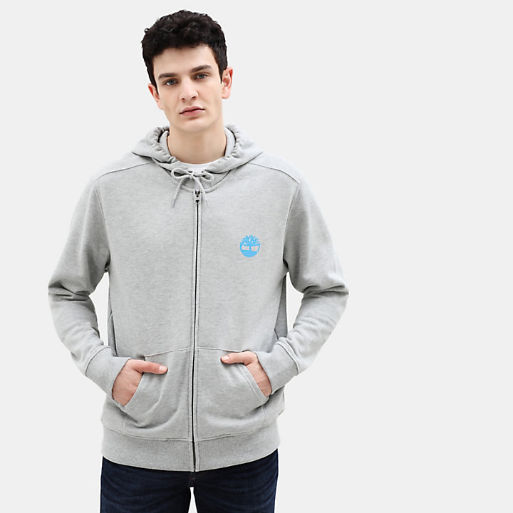 Core Tree Logo Full Zip Hoodie for Men in Grey-