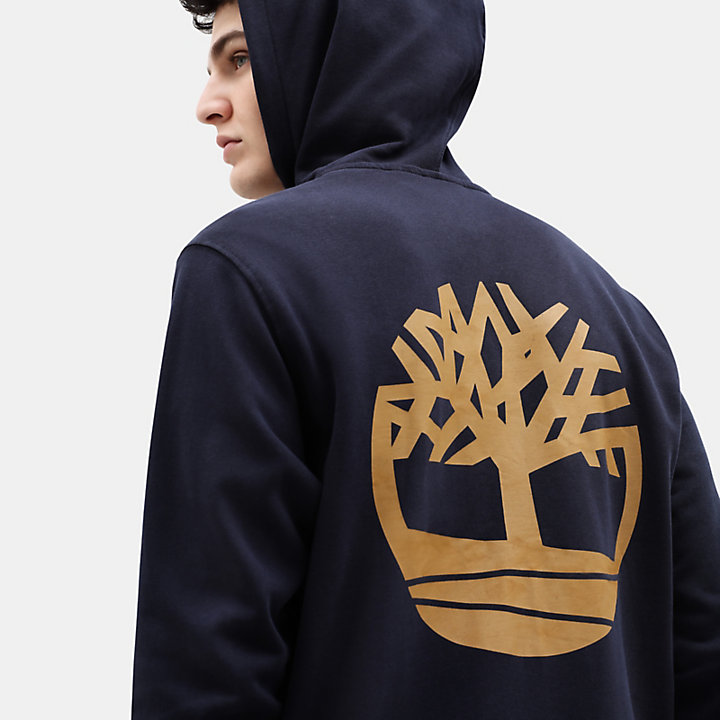 Core Tree Logo Full Zip Hoodie for Men in Navy-