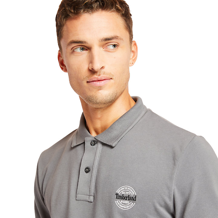 Millers River Graphic Polo Shirt for Men in Grey-
