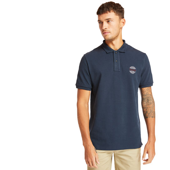 Millers River Graphic Polo Shirt for Men in Navy | Timberland