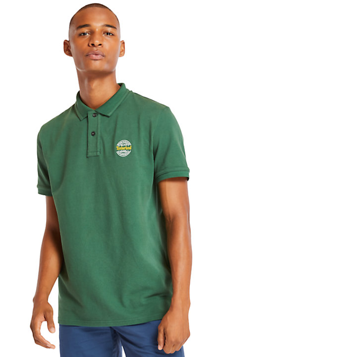 Millers River Graphic Polo Shirt for Men in Green-