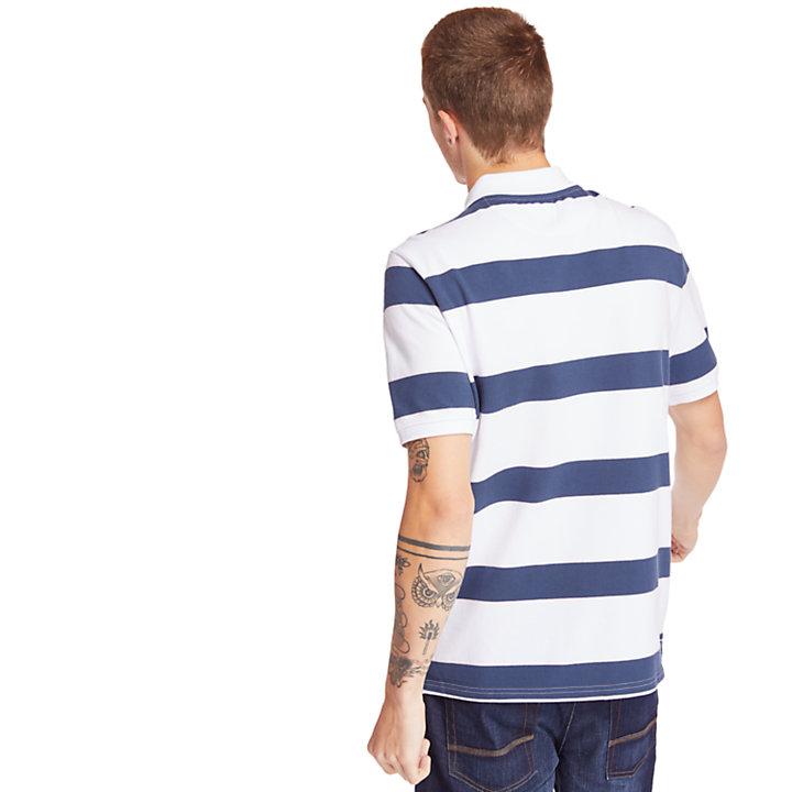 Millers River Gestreepte Poloshirt voor Heren in wit-