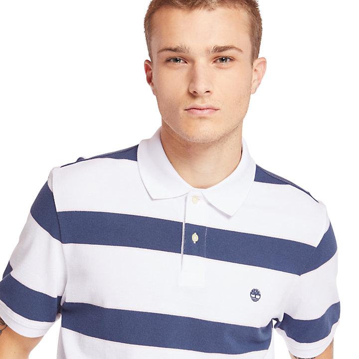Millers River Polohemd mit Streifen für Herren in Weiß-