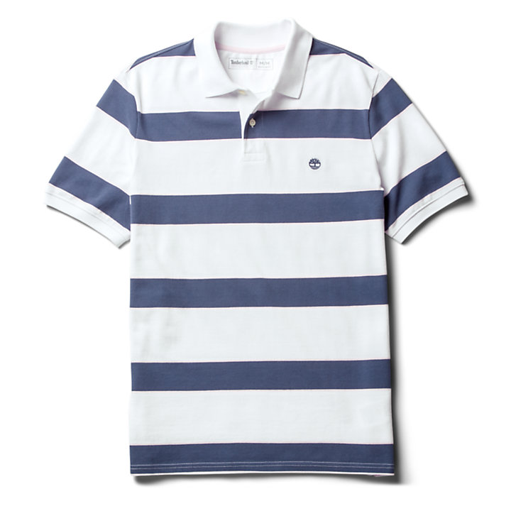 Millers River Striped Polo Shirt for Men in White-
